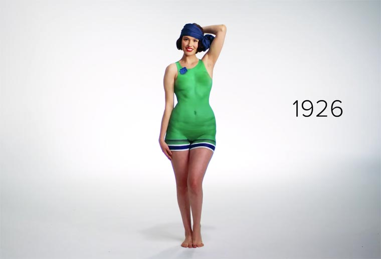 100 years of swimwear evolution seen through body painting