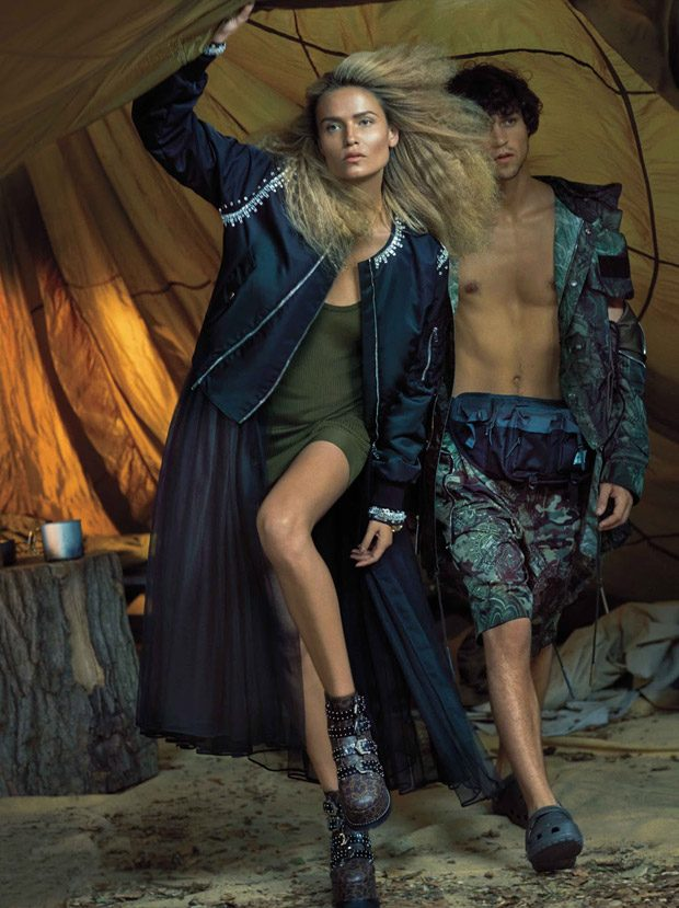 Natasha Poly & Miles McMillan Star in Harper's Bazaar December Issue