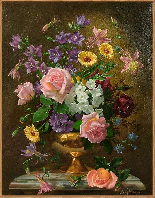 5 Натюрморт с цветами в медной вазе (Still life of flowers in a copper vase on a marble pedestal)_49.5 х 39_х.,м._Частное собрание.jpg