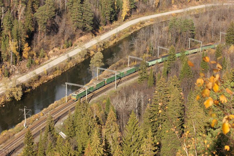 Сплотка электровозов ВЛ10К с грузовым поездом, перегон Симская - Биянка