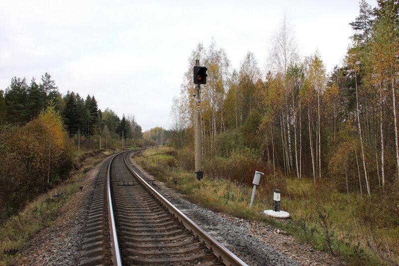 Светофор ПН на приближении к станции Посинь. Перегон Гарнея - Посинь