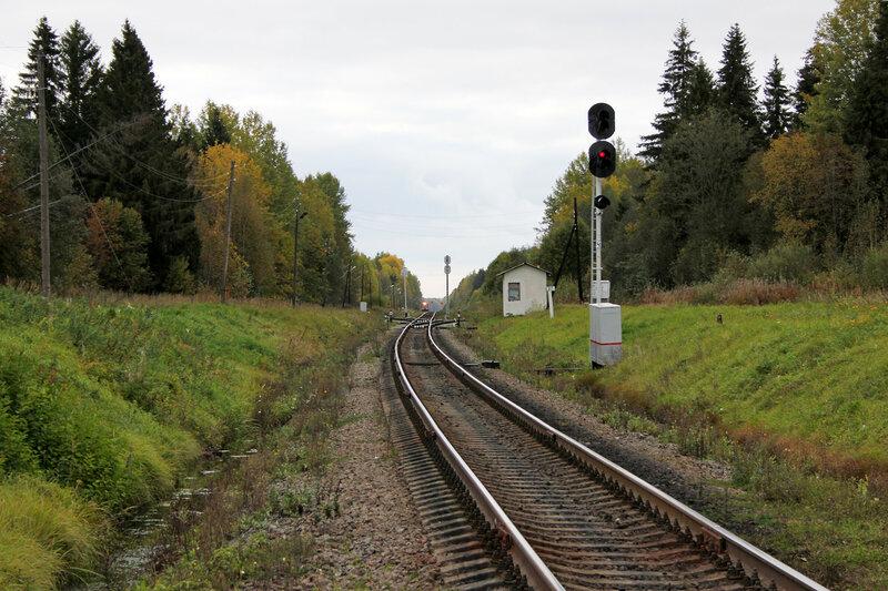 Входной светофор Ч станции Остолопово, вид на Овинище