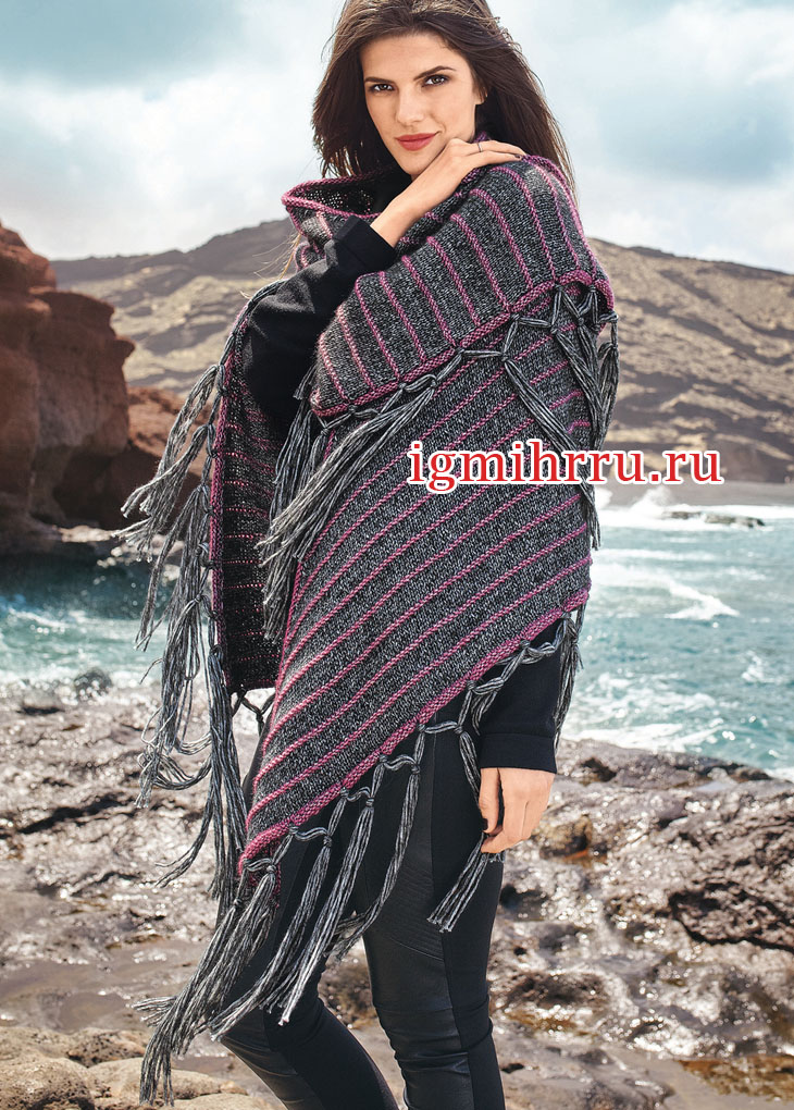 Большой треугольный платок с бахромой. Вязание спицами