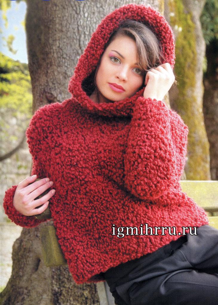 Красный шерстяной джемпер с капюшоном. Вязание спицами