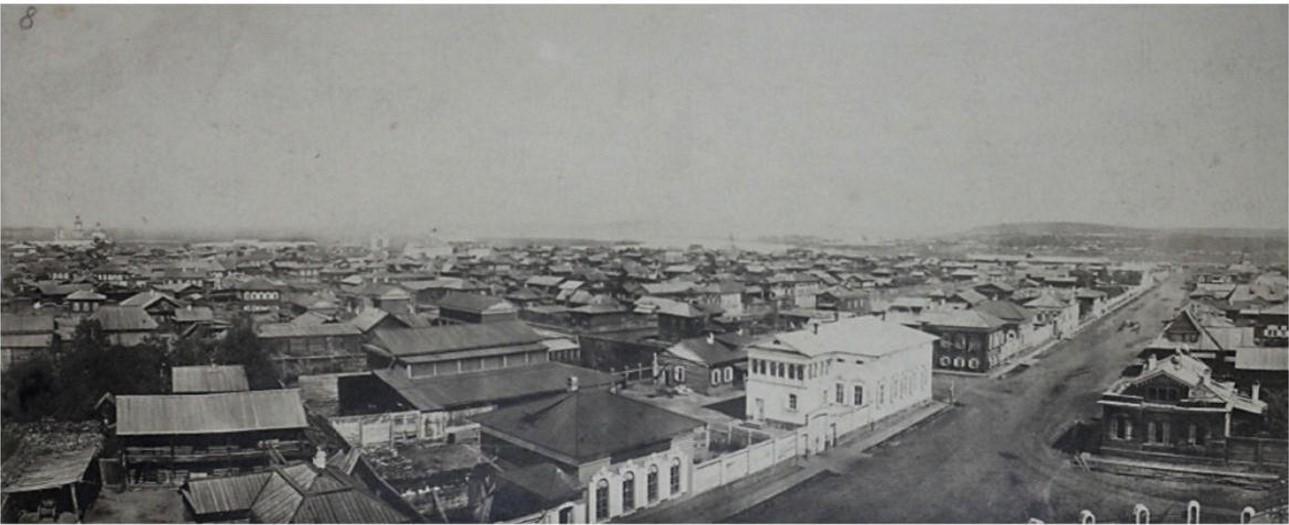 Вид с колокольни Благовещенской церкви в сторону кварталов города, впоследствии погибших в пожаре 22-24 июня 1879. 1866