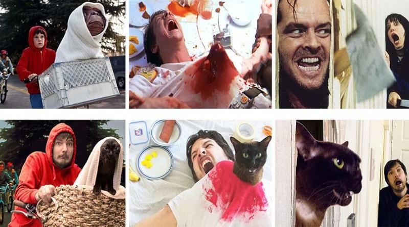 Парень и его кошка воссоздают сцены из известных фильмов