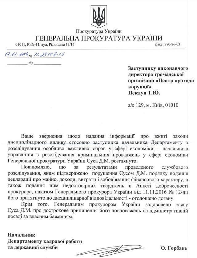 Луценко вынес выговор скандальному прокурору Сусу за неуказание в декларации и анкете добродетели бабушкиного внедорожника Audi Q7. ДОКУМЕНТ