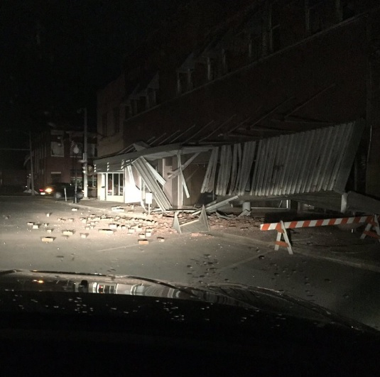 There have been no immediate reports of injuries, but damage has been reported in Cushing.