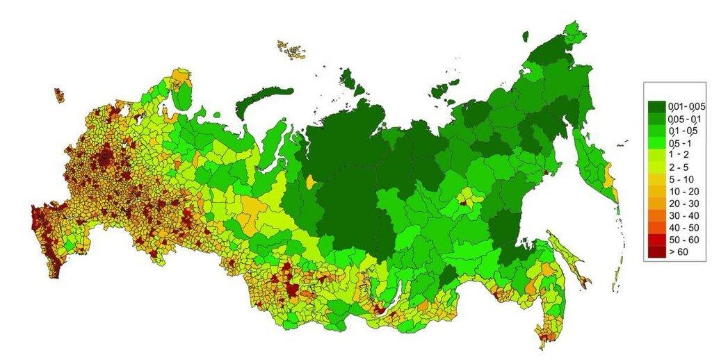 Карта плотности населения в муниципалитетах России