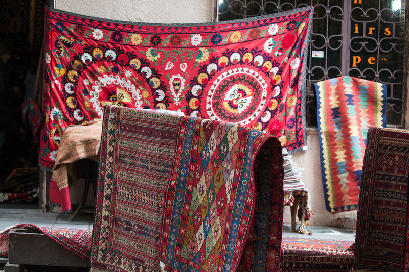 Old carpets in the street market in Tbilisi Old town, Republic of Georgia