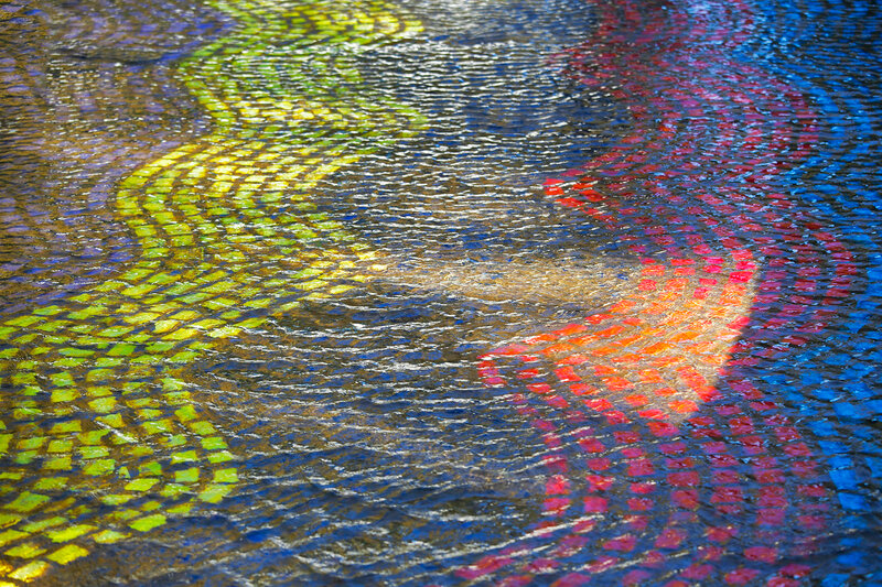 Modern mosaic under the water. Reflection