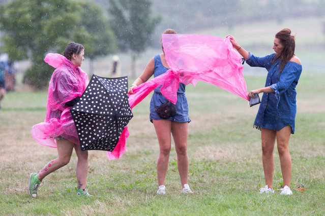 Music fans arriving at Hylands Park in Chelmsford, Essex, on Saturday morning August 20th, 2016 in a
