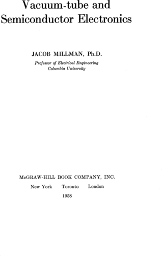 Vacuum-tube and Semiconductor Electronics - Jacob Millman - Book Cover