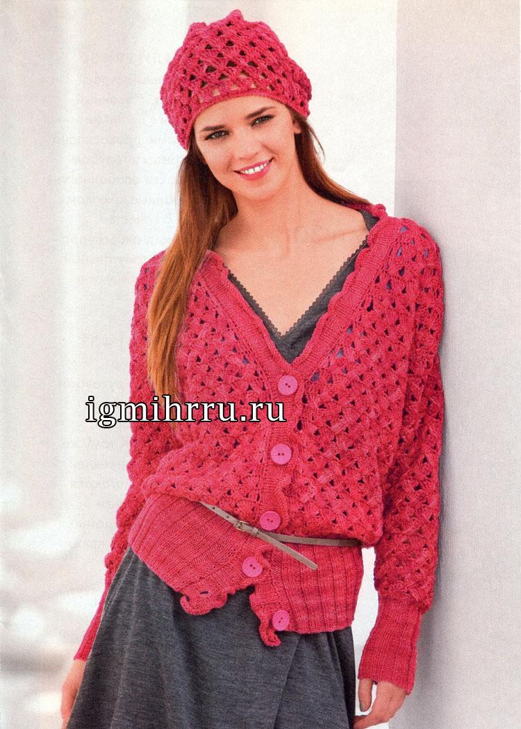 Красный меланжевый жакет с плетеным узором и берет. Вязание крючком и спицами