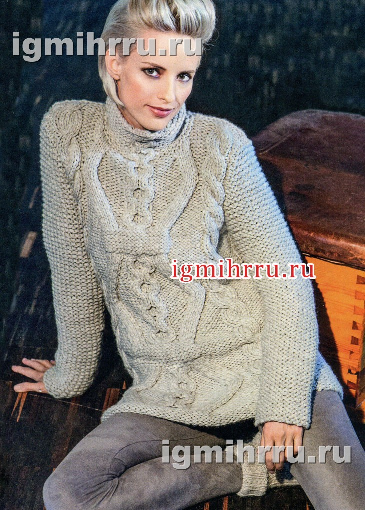 Светлый теплый свитер с косами. Вязание спицами