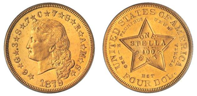 7. Стелла (4 доллара), США, 1879-1880 года В 1865 году был основан Латинский валютный союз, в честь