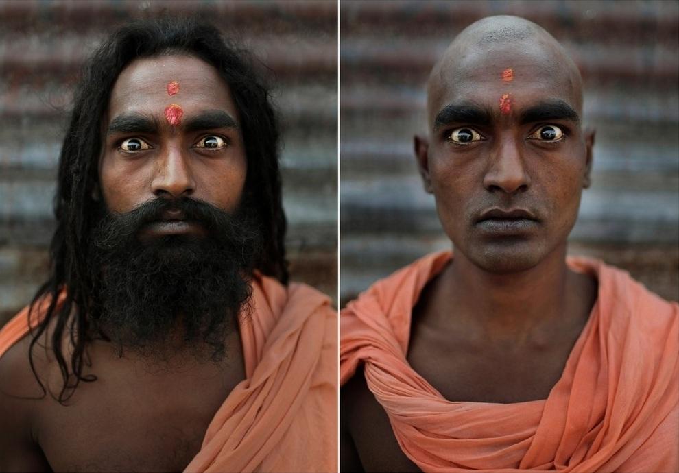 Портреты нага садху до и после ритуала инициации
