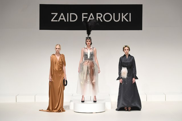 Models pose at the runway during the Zaid Farouki Presentation at Fashion Forward Spring/Summer 2017