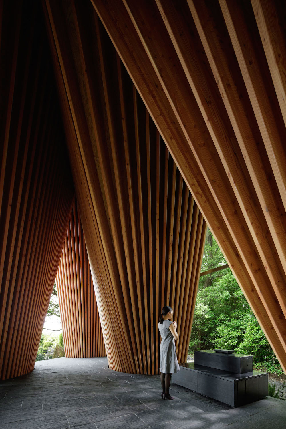 This Solemn Forest Chapel in Japan Imitates Two Hands Clasped in Prayer