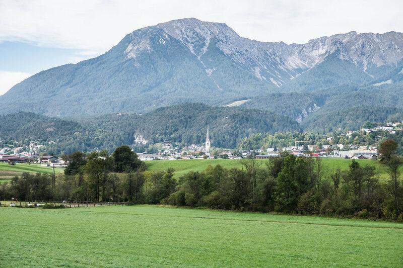 пейзаж в долине реки Инн, Альпы, Австрия
