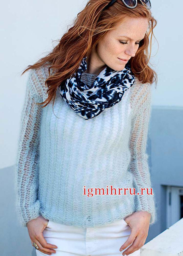 Легко и женственно! Серебристо-серый мохеровый пуловер с сетчатым узором. Вязание спицами