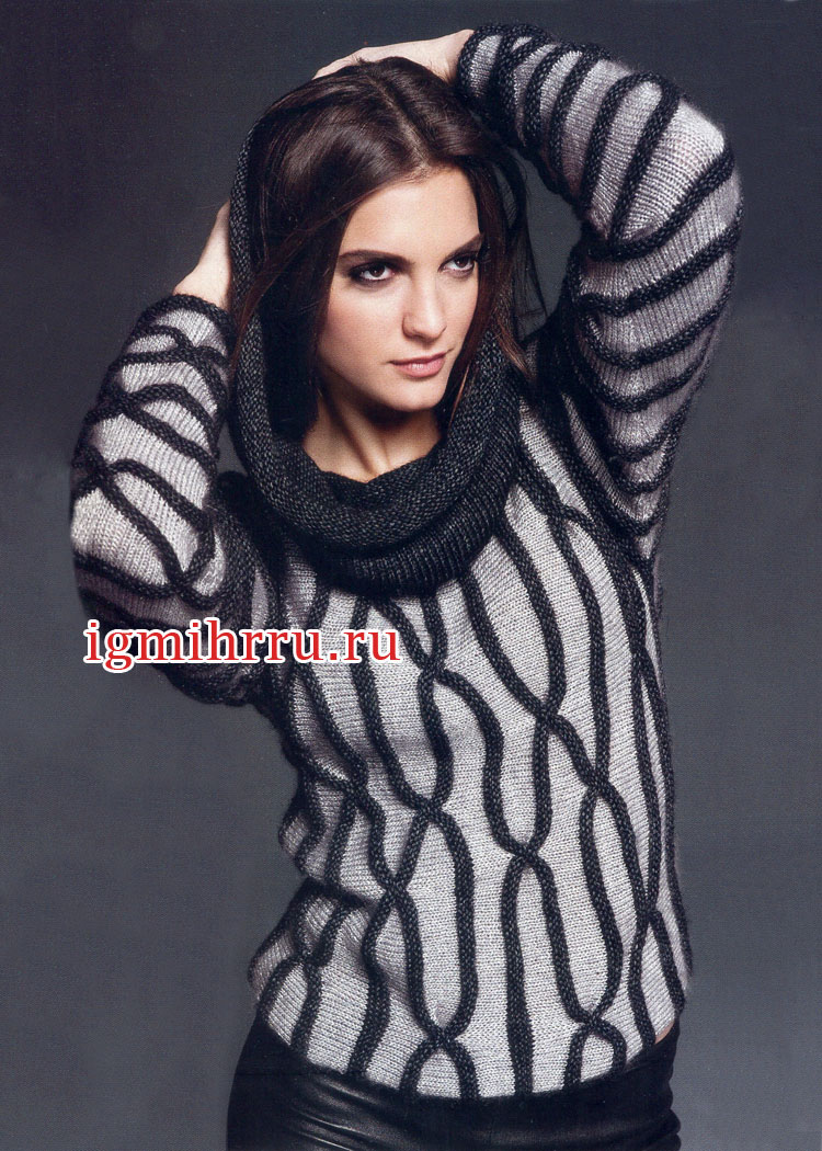 Двухцветный пуловер с вафлями и объемным воротником. Вязание спицами