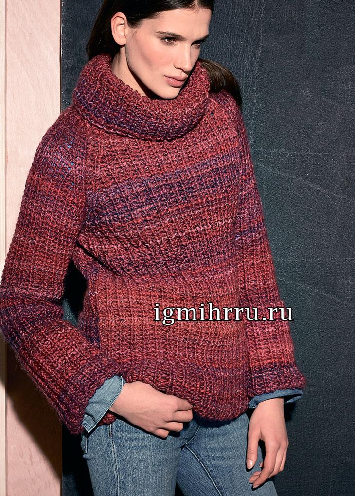 Меланжевый свитер, связанный полупатентной резинкой. Вязание спицами