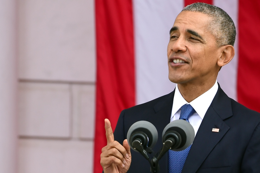Obama Makes Remarks in the Memorial Amphitheater