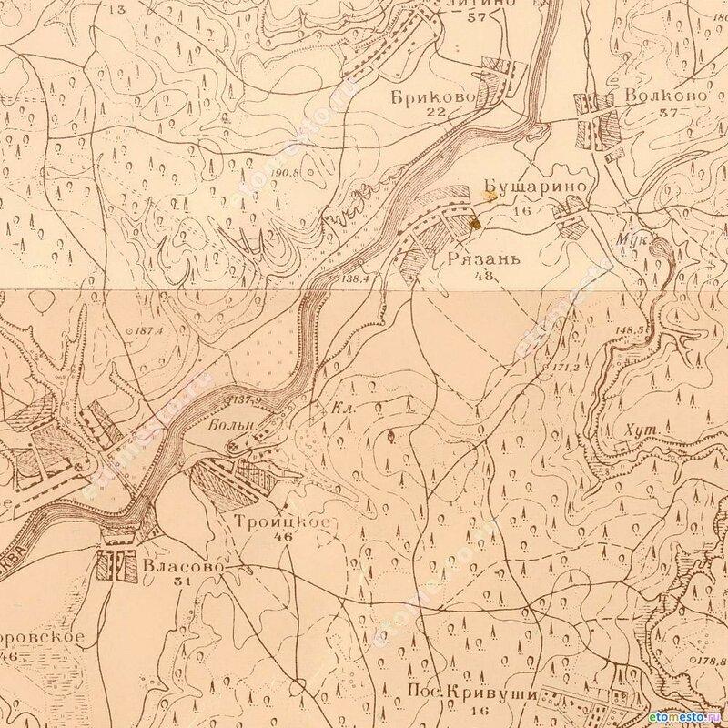 Село Троицкое на карте 1931 года