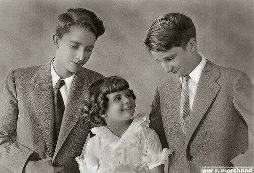 Принцы Бодуэн, Альберт и Александр. 1948 г.