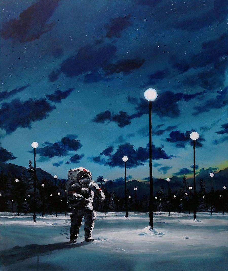 Астронавты за городом на картинах Thomas Juul Krahn