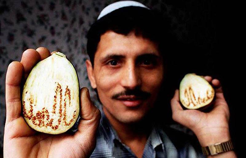 17. Салим Патель держит баклажан, в котором проявляется надпись