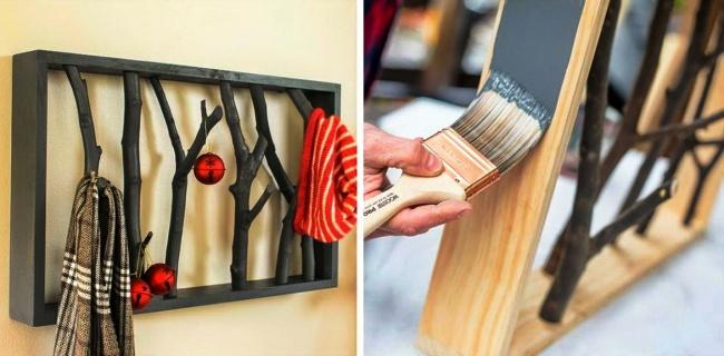 © diyproject  Четыре дощечки, несколько веток дерева, инструмент ивдохновение— вот такой нех