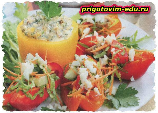 Перец, фаршированный грибным салатом
