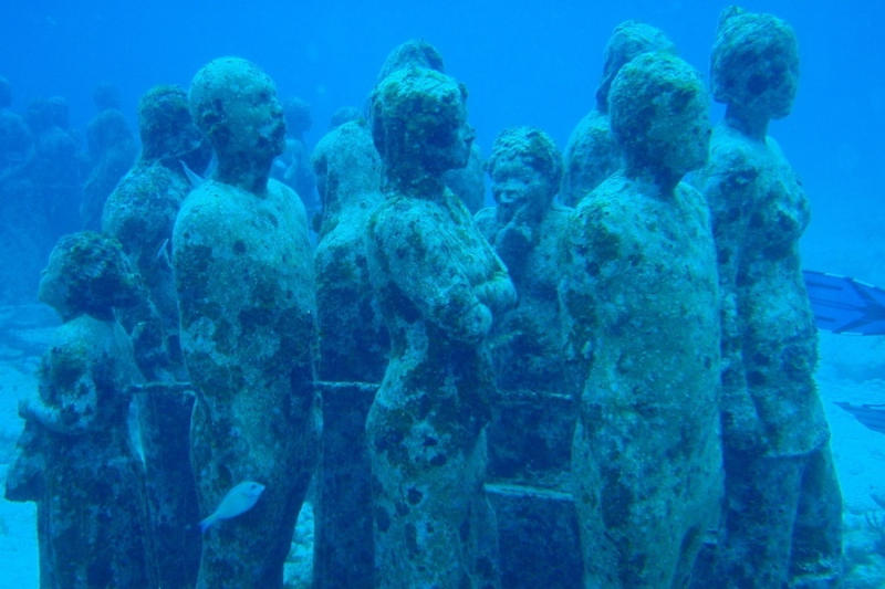 This underwater display acts as a unique venue for life-sized sculptures in addition to serving as a