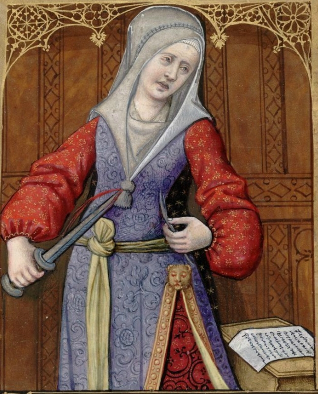 Canace, stabbing herself -- Huntington Library Ms HM 60, f°57 Les XXI Epistres des Dames illustres traduicttes d'Ovide par le Reverend Pere en Dieu Mon.jpg