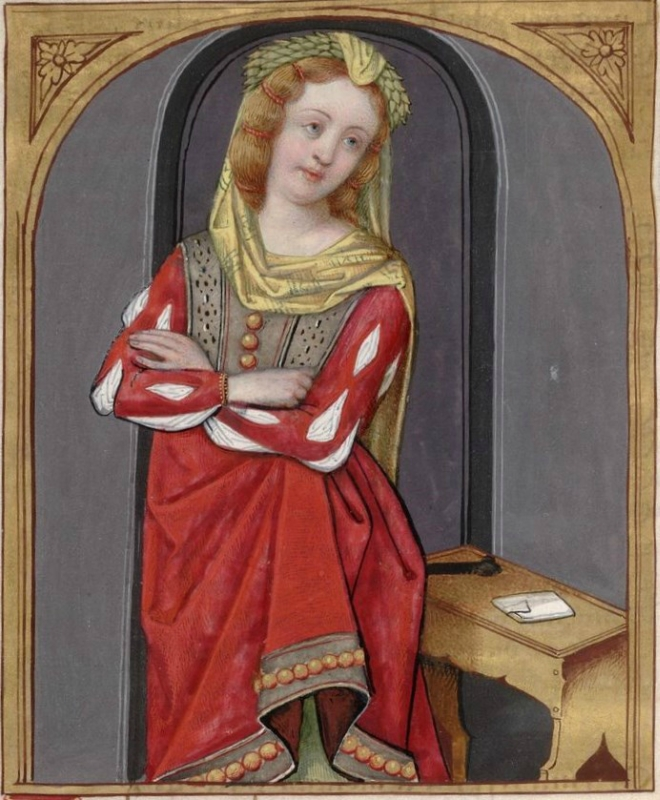 Cydippe, standing, her arms crossed -- Huntington Library Ms HM 60, f°118v Les XXI Epistres des Dames illustres traduicttes d'Ovide par le Reverend Per.jpg
