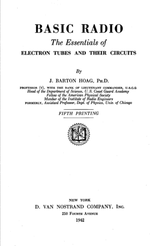 Basic Radio: The Essentials of Electron tubes and their Circuits - J. Barton Hoag - Book Cover