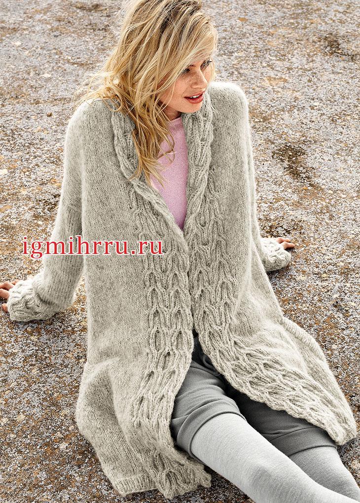 Теплое пальто с широкими планками из кос. Вязание спицами