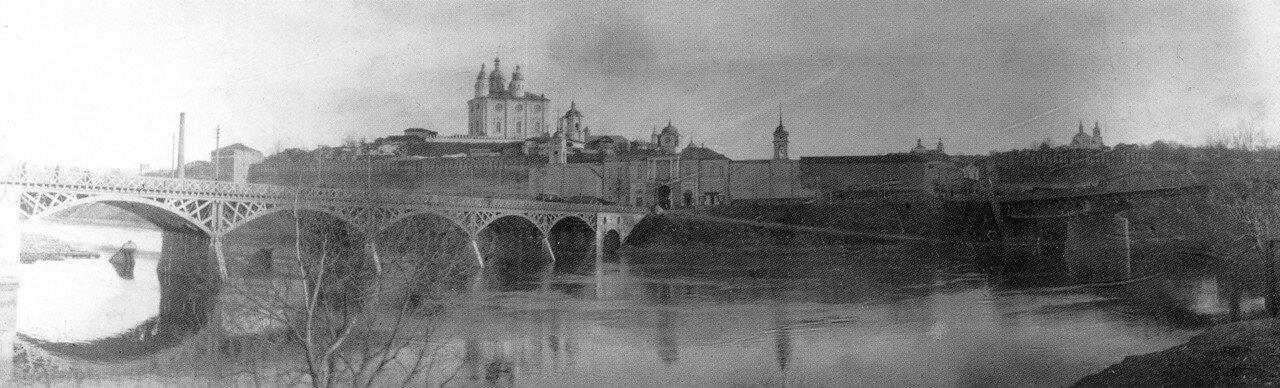 Панорамный вид двух мостов. 1902