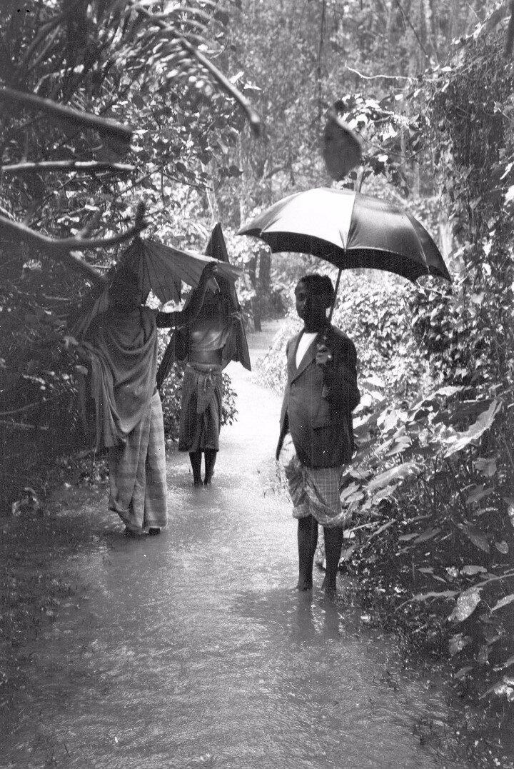 76. Человек на затопленной дороге в сезон дождей возле деревне Гангода возле Бибилы
