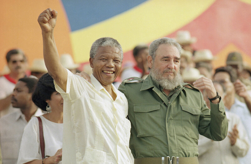 Associated Press Nelson Mandela with Cuban President Fidel Castro, right, during a celebration of the Day of the Revolution in 1991.jpg