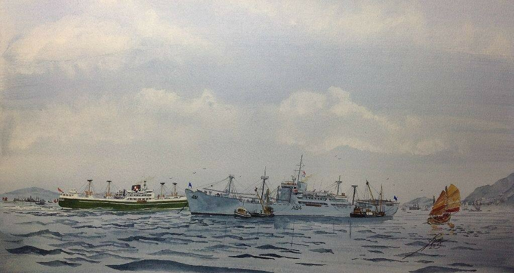 RFA Reliant with Ropner lines Somersby passing behind her!, in HK.