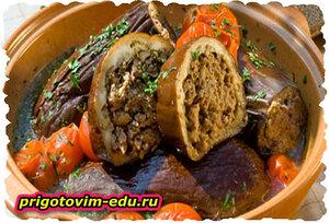 Баклажаны фаршированные мясом с сыром