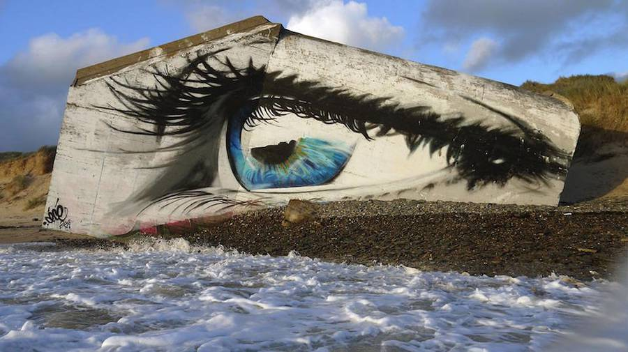 Eye Street Art Piece on a French Beach