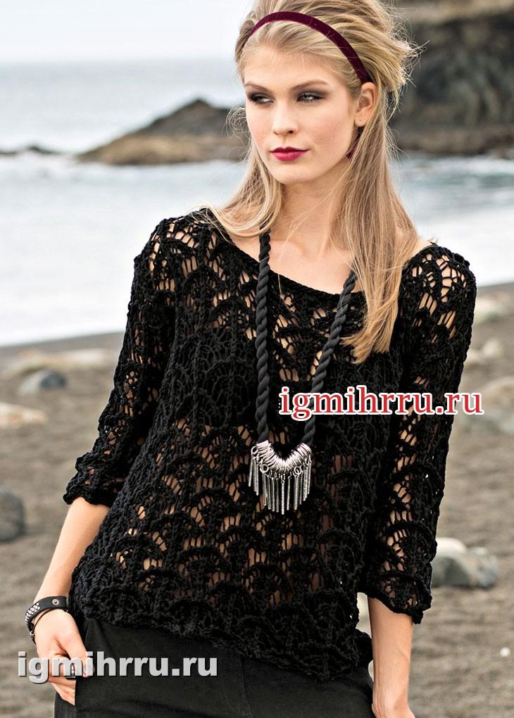 Просторный черный пуловер с ажурным узором. Вязание спицами