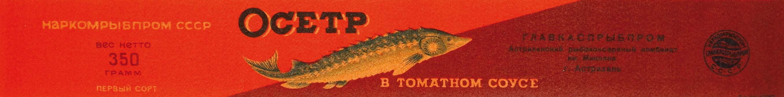 1930-е - 1940-е. Образец дизайна этикетки консервов «Осетр в томатном соусе». Наркомрыбпром СССР. Главкаспрыбпром. Астрахань, Астраханский рыбоконсервный комб-т им. Микояна