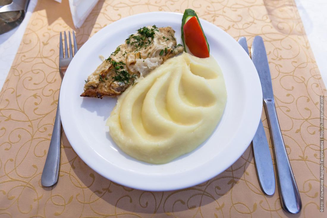 Запеченная с луком и майонезом рыба, картофельное пюре