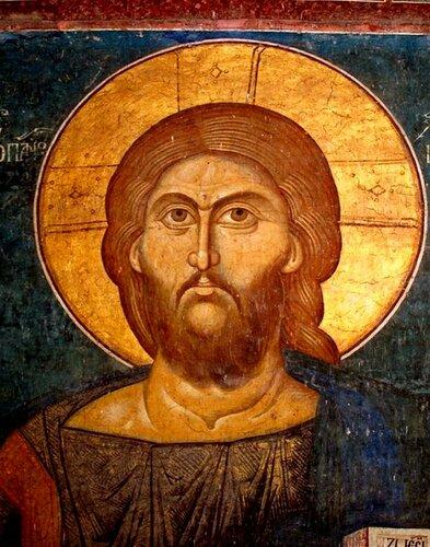 Христос Пантократор (Вседержитель). Фреска монастыря Высокие Дечаны, Косово, Сербия. Около 1350 года. Лик.