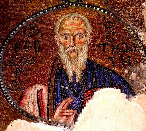 Святой Преподобный Феодор Студит, Исповедник. Мозаика монастыря Неа Мони на острове Хиос, Греция. XI век.